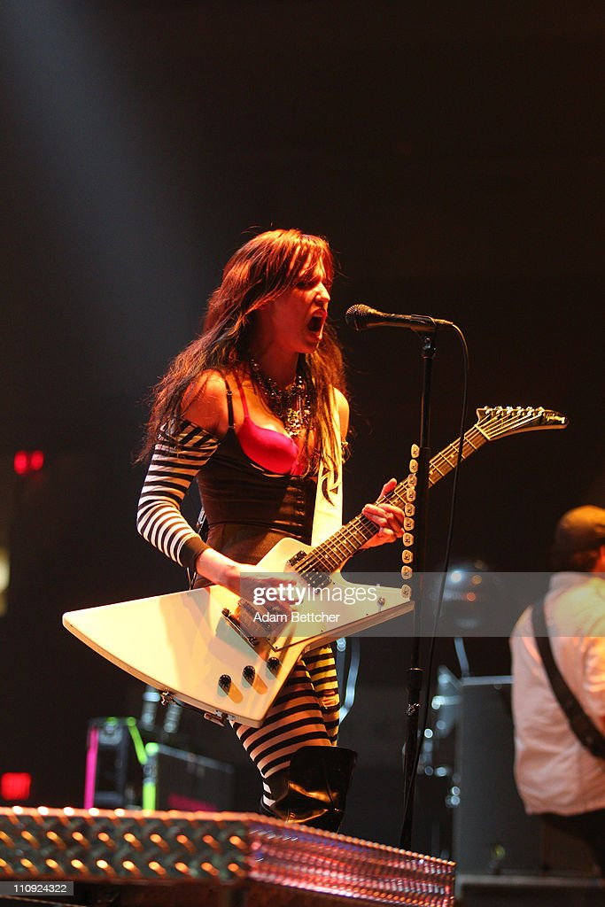 Halestorm lead singer Elizabeth 'Lzzy' Hale performs during the 2011 Avalanche Tour at the Roy Wilkins Auditorium on Saturday, March 26, 2011 in St. Paul, Minnesota.