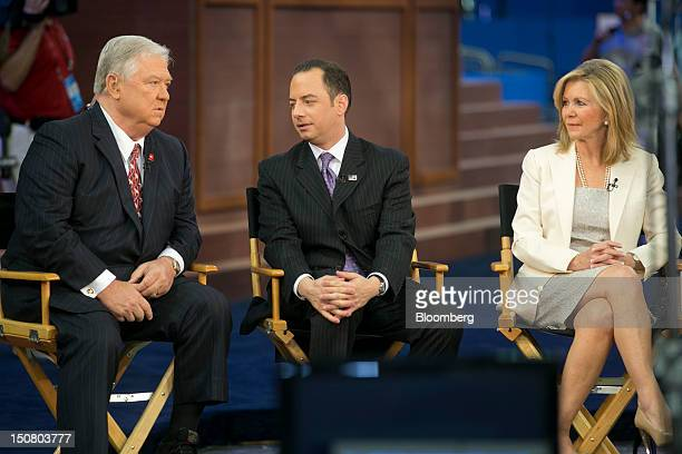 Haley Barbour former governor of Mississippi left to right Reince Priebus chairman of the Republican National Committee and Representative Marsha...