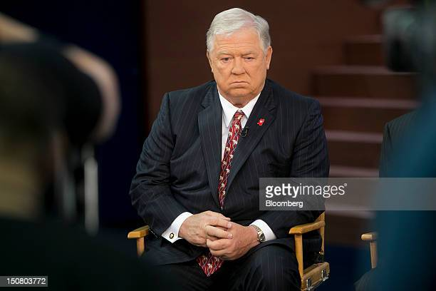 Haley Barbour former governor of Mississippi waits to speak during a Face the Nation television interview on the floor of the Tampa Bay Times Forum...