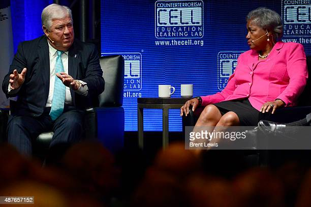 Haley Barbour talks about the upcoming election while Donna Brazile talks during the Colorado Remembers 9/11 Commemoration and Event on September 10...