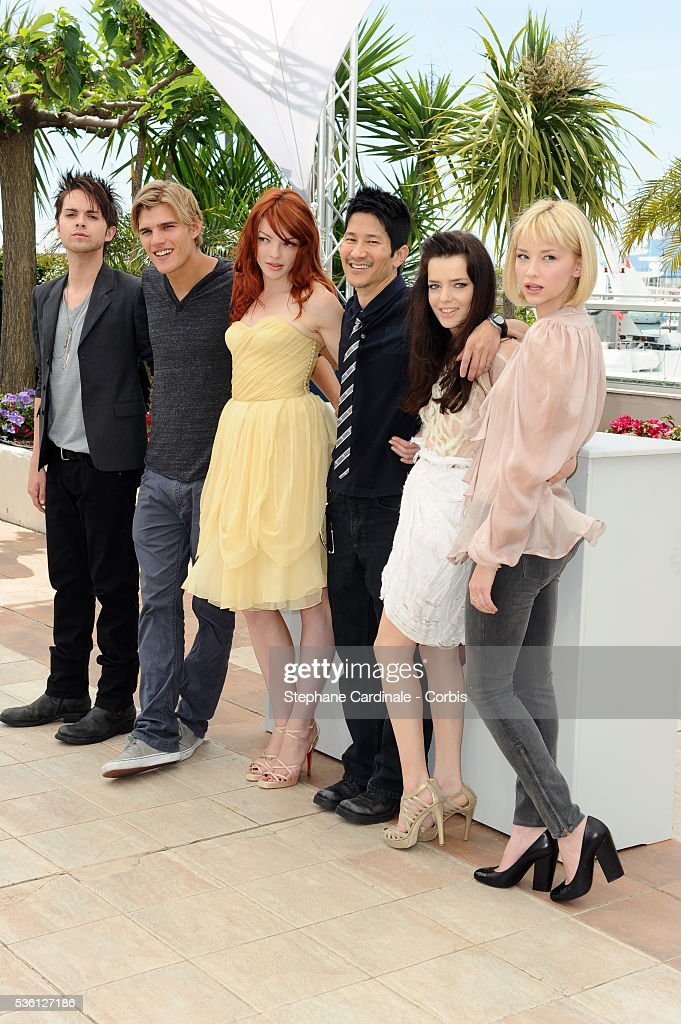 Haley Bennet Roxanne Mesquida Gregg Araki Nicole Laliberte Chris Zylka and Thomas Dekker at the Photocall for 'Kaboom' during the 63rd Cannes...