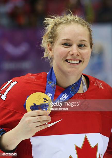 Haley Irwin of Canada celebrates after defeating the United States 32 in overtime during the Ice Hockey Women's Gold Medal Game on day 13 of the...
