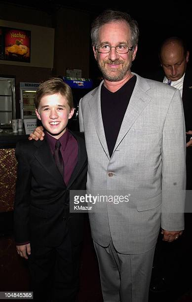 Haley Joel Osment and Steven Spielberg during 'Artificial Intelligence AI' World Premiere at Ziegfeld Theatre in New York City New York United States