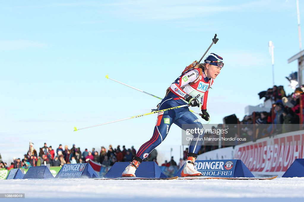 <a gi-track='captionPersonalityLinkClicked' href=/galleries/search?phrase=Haley+Johnson&family=editorial&specificpeople=6513842 ng-click='$event.stopPropagation()'>Haley Johnson</a> competes in the mixed relay during the E.ON IBU Biathlon World Cup on February 5, 2011 in Presque Isle, Maine.