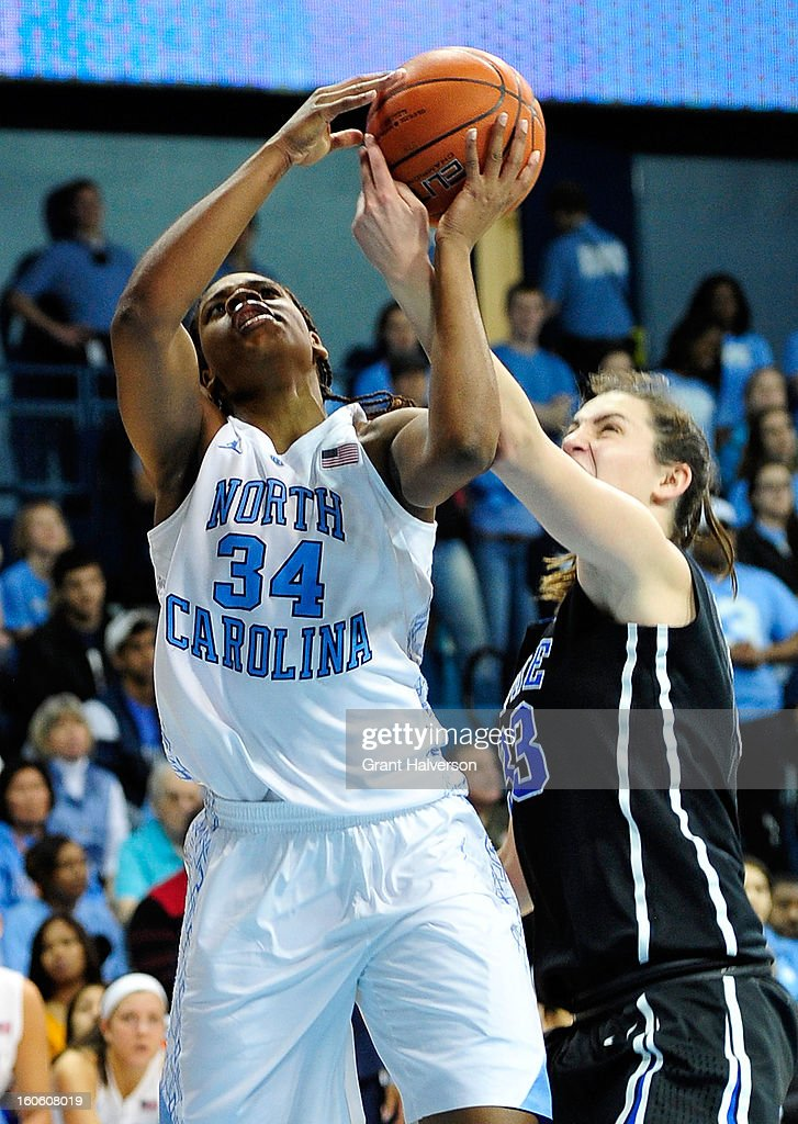 Haley Peters #33 of the Duke Blue Devils blocks a shot by Xylina McDaniel #34 of the North Carolina Tar Heels during play at Carmichael Arena on February 3, 2013 in Chapel Hill, North Carolina. Duke won 84-63.