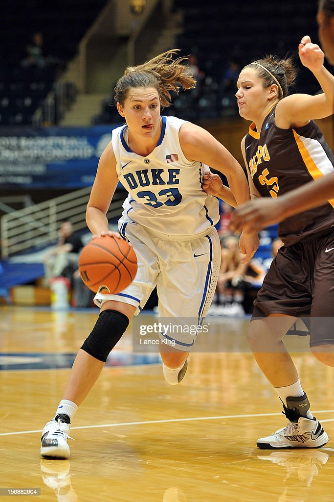 Haley Peters #33 of the Duke Blue Devils dribbles against Liz Horton #25 of the Valparaiso Crusaders at Cameron Indoor Stadium on November 23, 2012 in Durham, North Carolina. Duke defeated Valparaiso 90-45.
