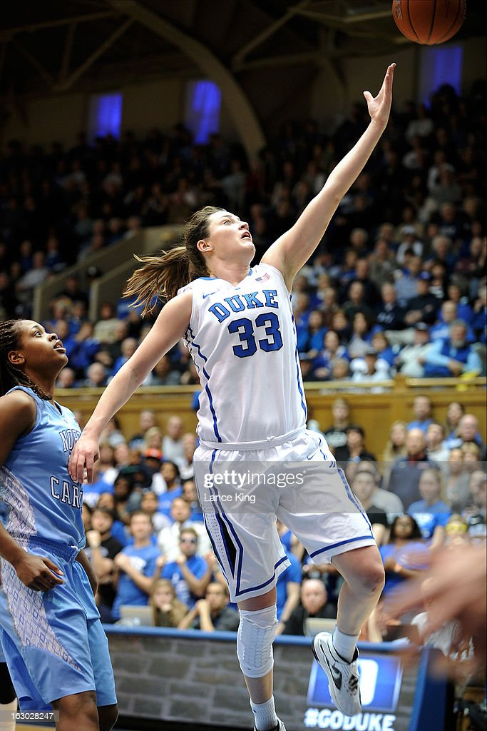 Haley Peters #33 of the Duke Blue Devils puts up a shot against the North Carolina Tar Heels at Cameron Indoor Stadium on March 3, 2013 in Durham, North Carolina.