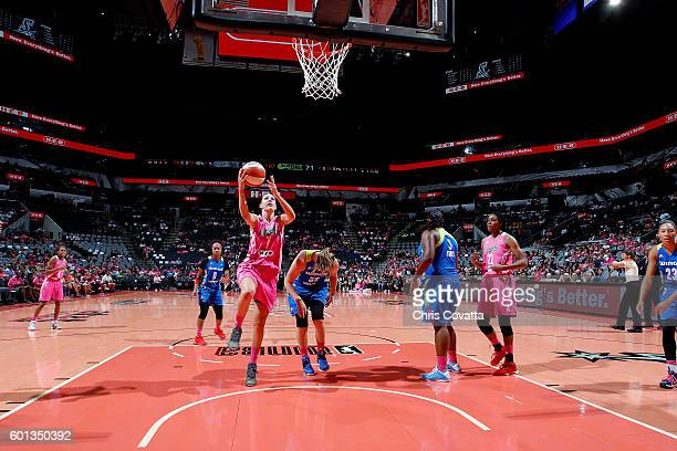 Haley Peters of the San Antonio Stars goes for the lay up during the game against the Dallas Wings during the WNBA game on September 9 2016 at the...