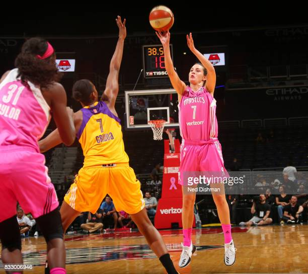 Haley Peters of the Washington Mystics shoots the ball against the Los Angeles Sparks on August 16 2017 at the Verizon Center in Washington DC NOTE...