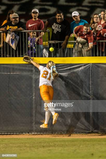 Haley Tobler of the University of Tennessee misses a catch at the back wall during the Division I Women's Softball Championship held at ASA Hall of...