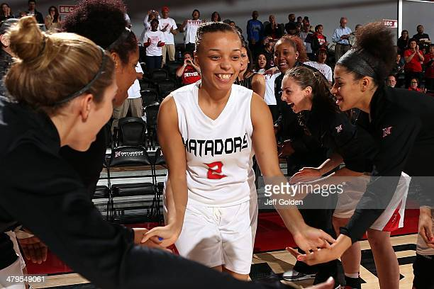 Haley White of the Cal State Northridge Matadors smiles as she is introduced before the game against the UC Riverside Highlanders at The Matadome on...