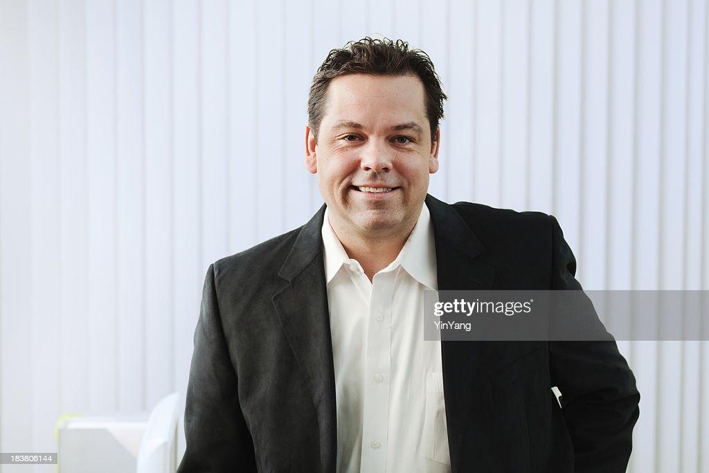 Half Body Portrait of Working Businessman in White Office