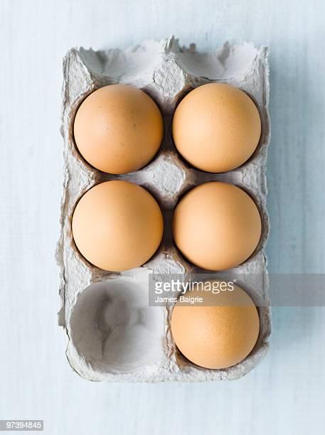 Half dozen farm eggs minus one