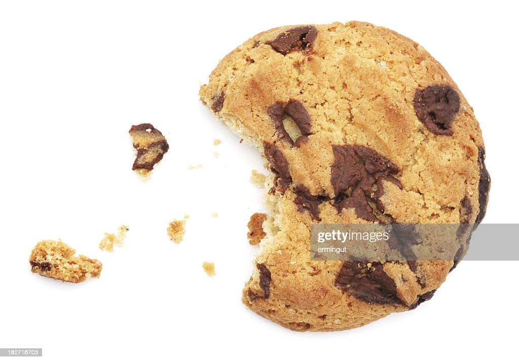 Half eaten chocolate chip cookie isolated on white