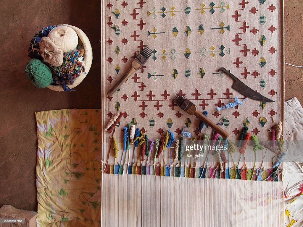 Half Finished Woven Rug : Stock Photo