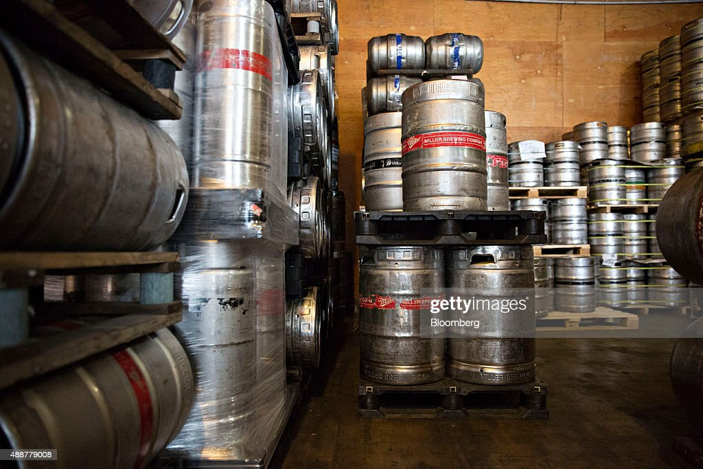 Half kegs of SABMiller beer sit in a cooler at the Baumgarten Distributing Co. warehouse in Peoria, Illinois, U.S., on Thursday, Sept. 17, 2015. Anheuser-Busch InBev NV unveiled plans to acquire SABMiller Plc yesterday, a deal that may cost the Budweiser brewer more than $100 billion as it seeks to unite the world's two biggest beermakers. Photographer: Daniel Acker/Bloomberg via Getty Images