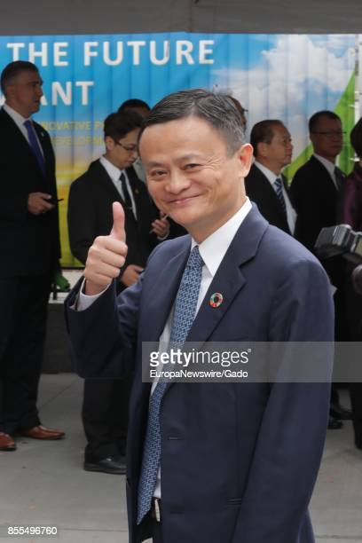 Half length portrait of Alibaba founder and chairman Jack Ma the richest person in China giving a thumbs up during his visit to to the UN...