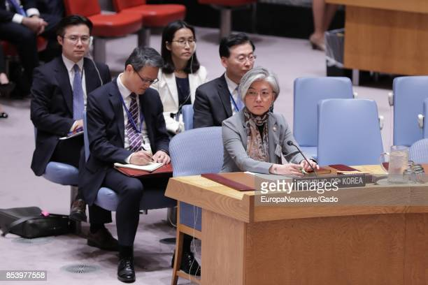 Half length portrait of Kang Kyungwha Minister for Foreign Affairs of the Republic of Korea at the Security Council meeting on the nonproliferation...
