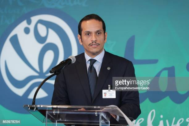 Half length portrait of Sheikh Mohammed bin Abdulrahman bin Jassim AlThani Minister for Foreign Affairs of the State of Qatar during a highlevel...
