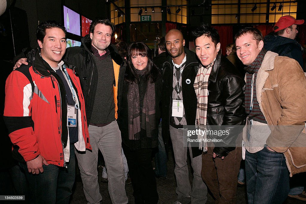 Half Life Executive producer Mark E. Lee, actor Ben Redgrave, Doreen Ringer Ross BMI, actor Lee Marks, actor Leonardo Nam, and Exec producer Dylan Shields attends the BMI Big Crowded Room Party at the Leaf Lounge during the 2008 Sundance Film Festival on January 21, 2008 in Park City, Utah.
