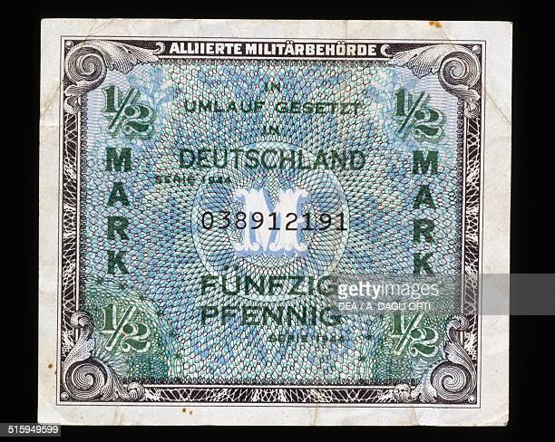 Half marco banknote Allied military occupation obverse Germany 20th century
