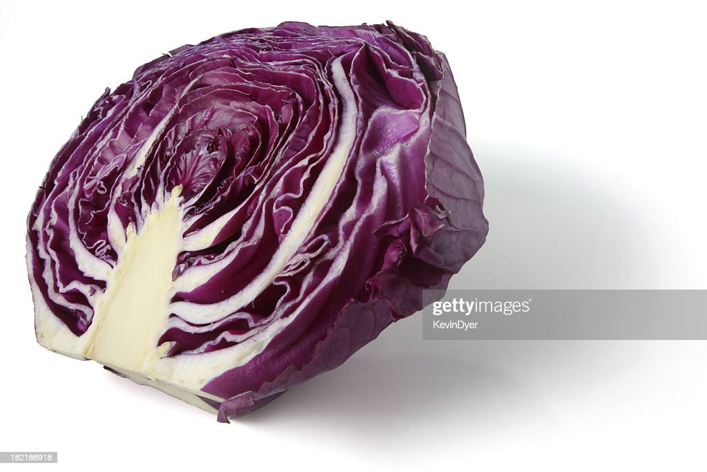 Half of a Red Cabbage Isolated on White : Stock Photo