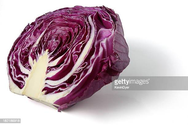 Half of a Red Cabbage Isolated on White