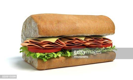 La mitad de un sub sándwich : Foto de stock