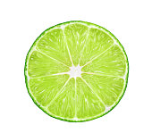 half of fresh lime isolated on white background