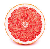 Perfectly retouched sliced half of grapefruit isolated on the white background with clipping path. One of the best isolated grapefruits halves slices that you have seen.