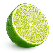 Half of lime citrus fruit isolated on white background with clipping path