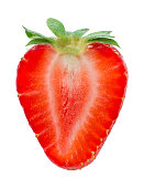 Half of strawberry isolated on white. With clipping path.