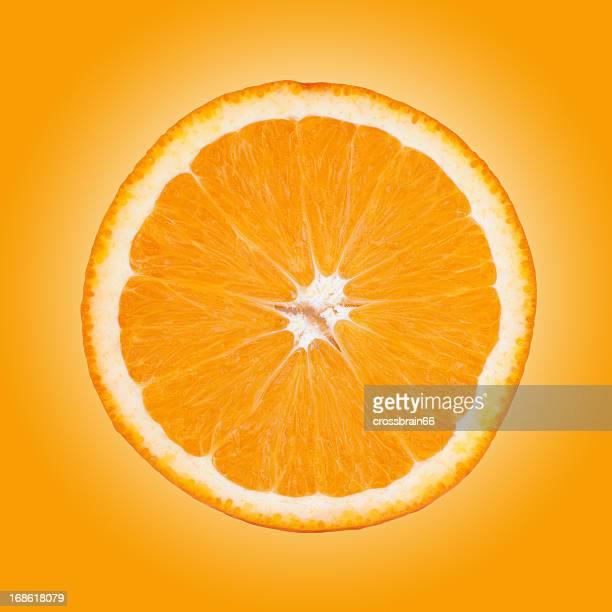 half orange fruit isolated on gradient background