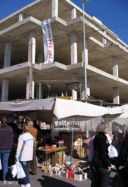 A half ready house construction is seen beside the weekly market on February 14 2007 in Torrevieja Spain Over the past five years Spain has been...