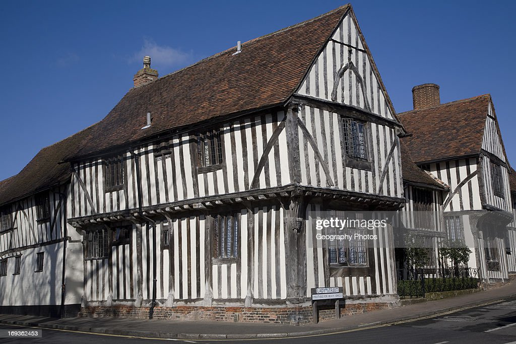 Half timbered black and white house Lavenham Suffolk England in medieval times Lavenham was a center of the wool trade making it one of the...