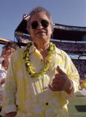Half time entertainer Don Ho poses for a photo during the NFL Pro Bowl on February 13 2005 at Aloha Stadium in Honolulu Hawaii The AFC team defeated...