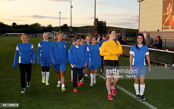 Half time parade during the WSL match between Bristol Academy Women and Birmingham City Ladies at Stoke Gifford Stadium on September 5 2015 in...
