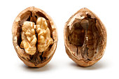 Half Walnut isolated on a white background