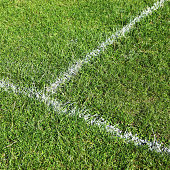 Half way line on football pitch