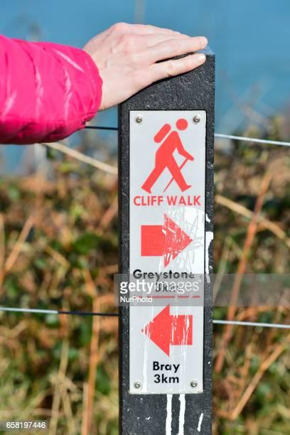 A half way mark of BrayGreystones cliff walk On Sunday March 26 in Bray Ireland