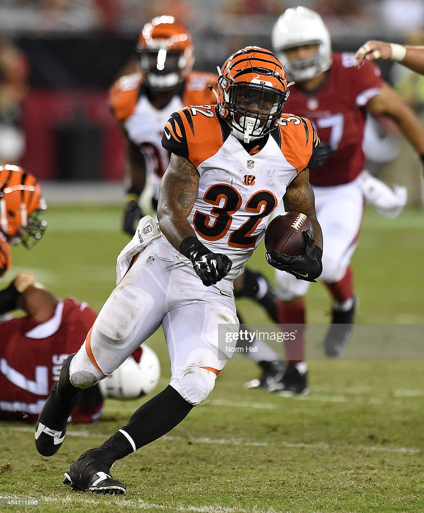 Halfback Jeremy Hill #32 of the Cincinnati Bengals runs during the preseason NFL game against the Arizona Cardinals at University of Phoenix Stadium on August 24, 2014 in Glendale, Arizona.