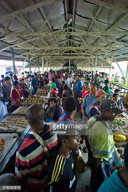 Halfcovered market in Alotau capital town of the province Milne Bay Province Papua New Guinea