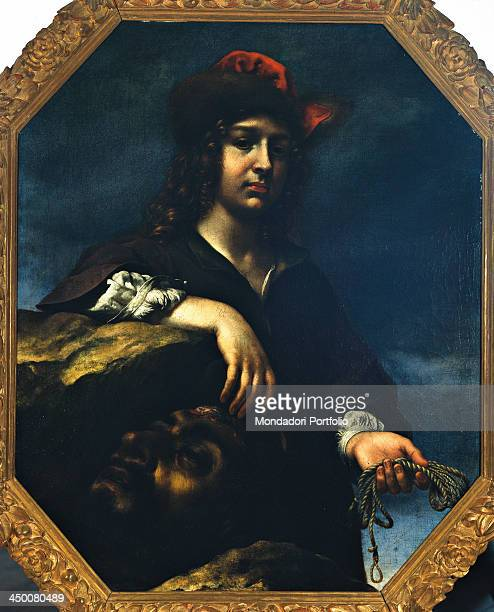 Halflength figure of David holding Goliath's head by Carlo Dolci 17th Century oil on canvas 95 x 77 cm