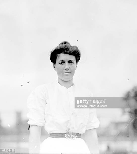 Halflength portrait of tennis player WE Clasterman standing outdoors at a tennis club in Chicago 1903 From the Chicago Daily News collection