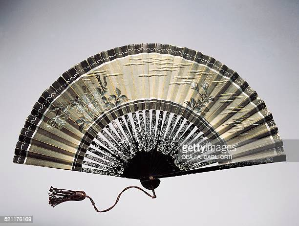 Halfmourning hand fan in painted paper and decorated wooden ribs China 20th century China