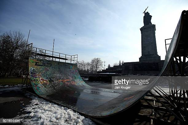A halfpipe at the foot of a statue in the Knyazheska Garden on January 31 2016 in Sofia Bulgaria