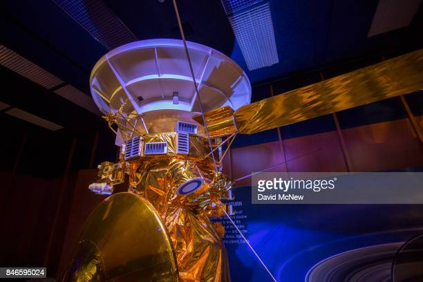 A halfscale model of NASA's Cassini spacecraft is seen during a news conference at Jet Propulsion Laboratory as Cassini nears the end of its 20year...