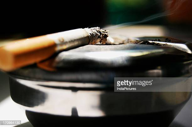 A halfsmoked cigarette on an ashtray West Bengal India