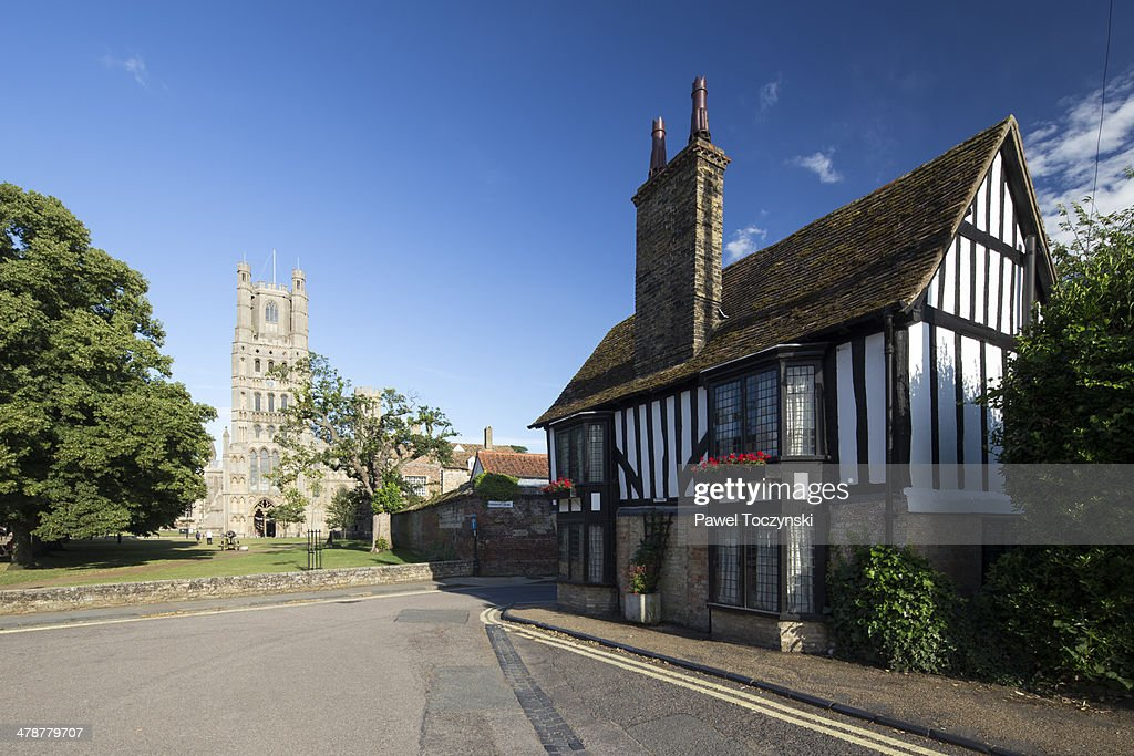 Half-timbered house in front of Ely Cathedral