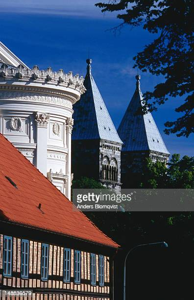 Half-timbered house, university main hall and cathedral.